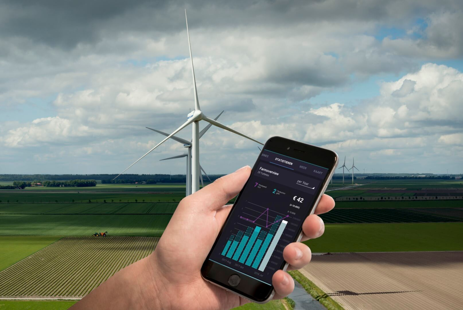 A view on your wind turbines at all times of day. With an extensive dashboard showing yield, forecast, history, and maintenance. Essential for accessible cost/benefit analyses.
